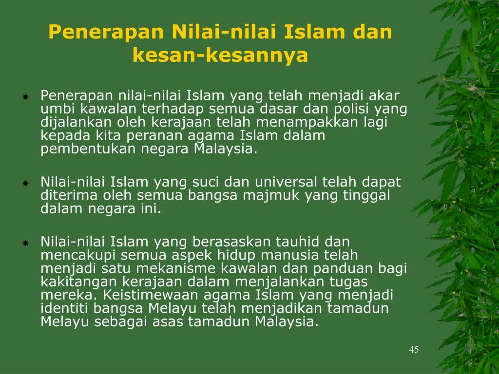 Penerapan Nilai-nilai Islam dan kesan-kesannya