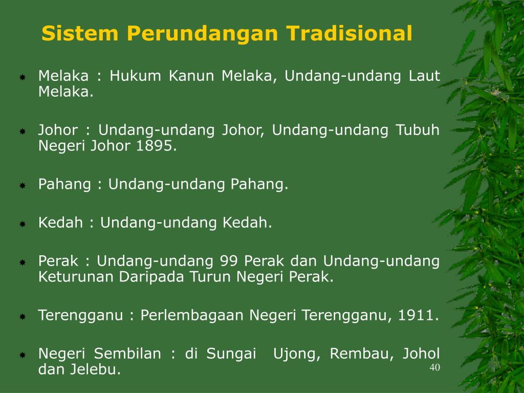 Sistem Perundangan Tradisional