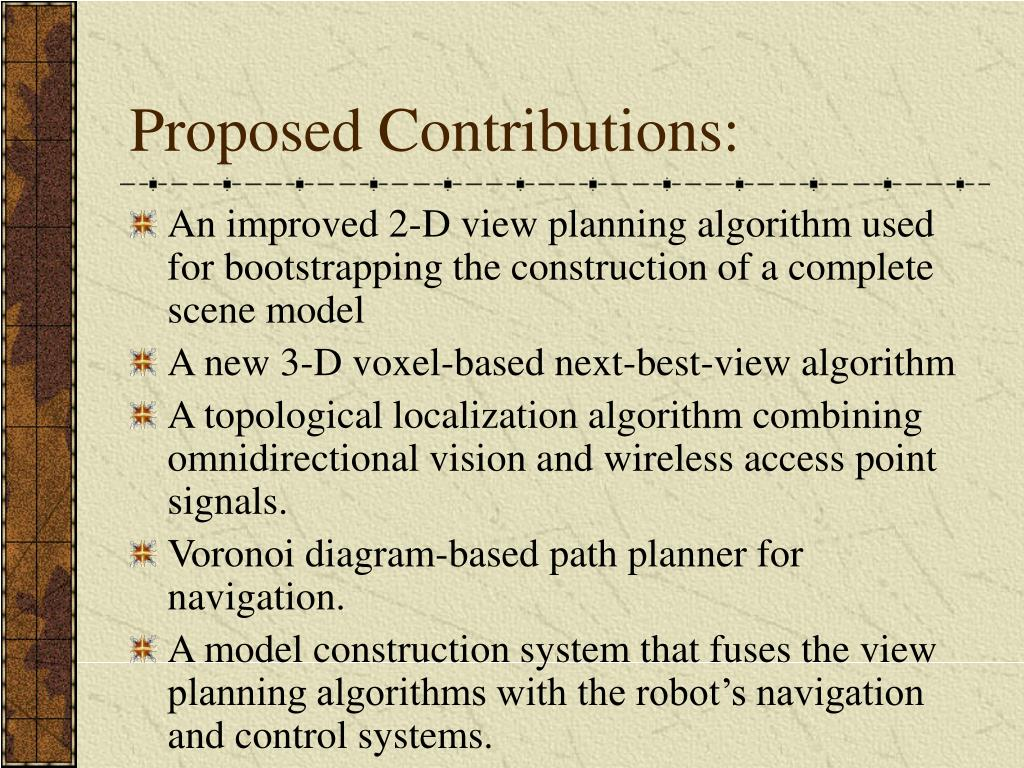 Proposed Contributions: