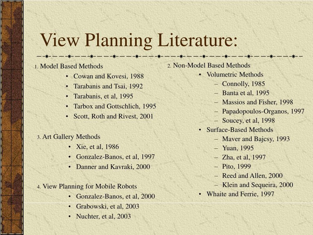 View Planning Literature:
