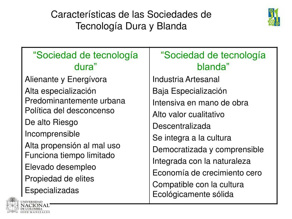 Características de las Sociedades de Tecnología Dura y Blanda