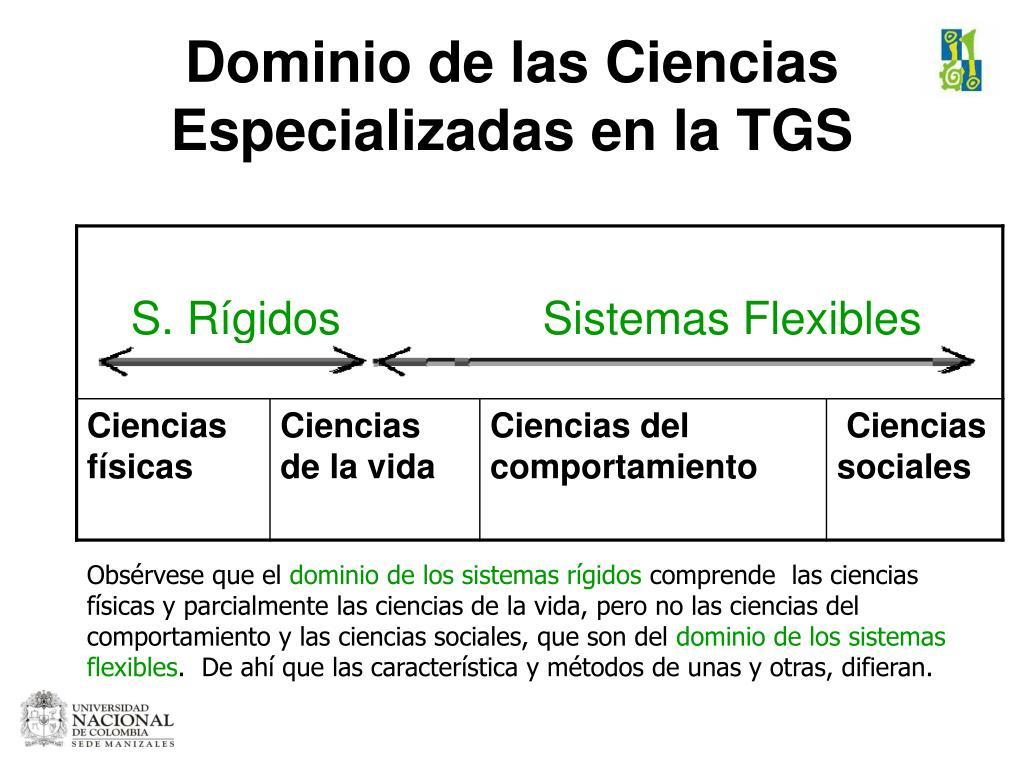 Dominio de las Ciencias Especializadas en la TGS