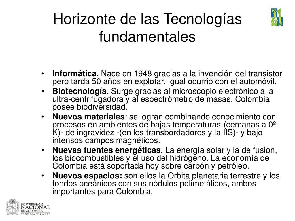 Horizonte de las Tecnologías fundamentales