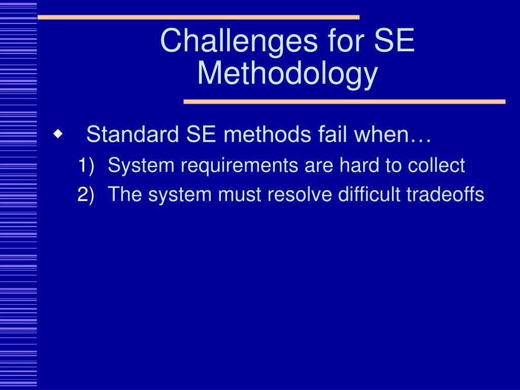 Challenges for SE Methodology