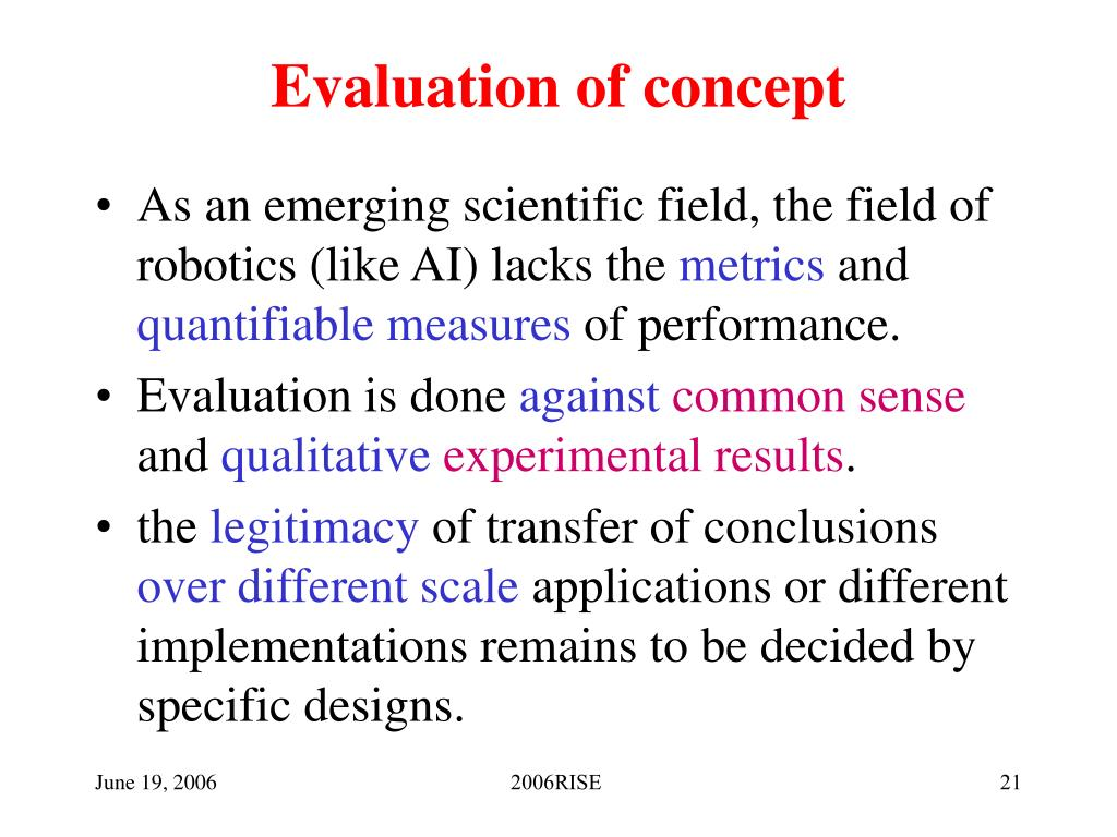 Evaluation of concept