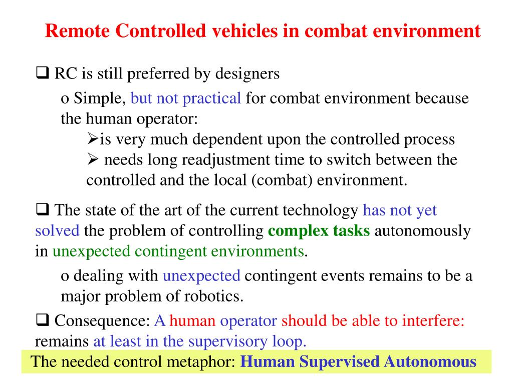 Remote Controlled vehicles in combat environment