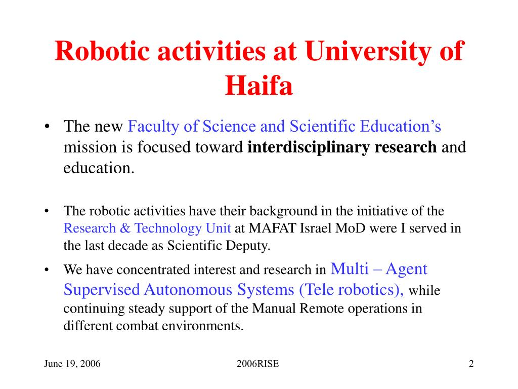 Robotic activities at University of Haifa