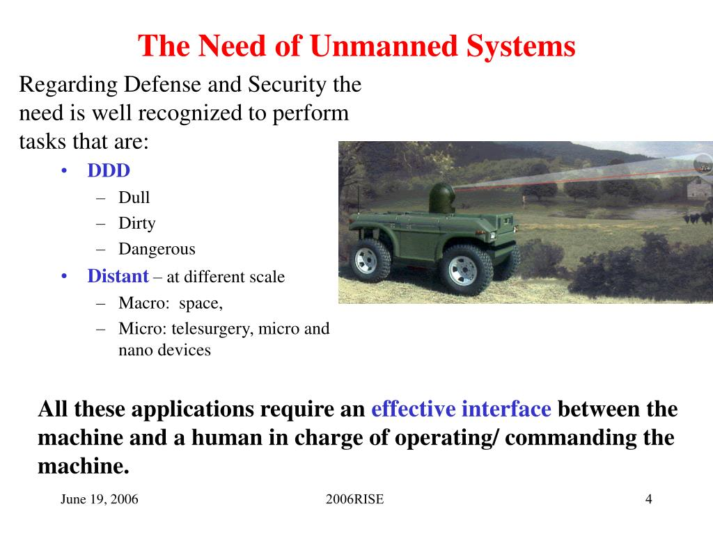The Need of Unmanned Systems