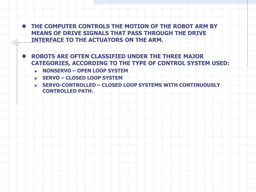 THE COMPUTER CONTROLS THE MOTION OF THE ROBOT ARM BY MEANS OF DRIVE SIGNALS THAT PASS THROUGH THE DRIVE INTERFACE TO THE ACTUATORS ON THE ARM.