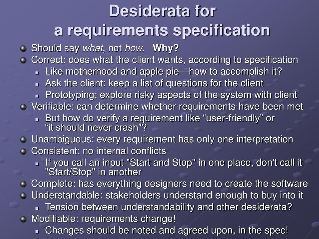 Desiderata for