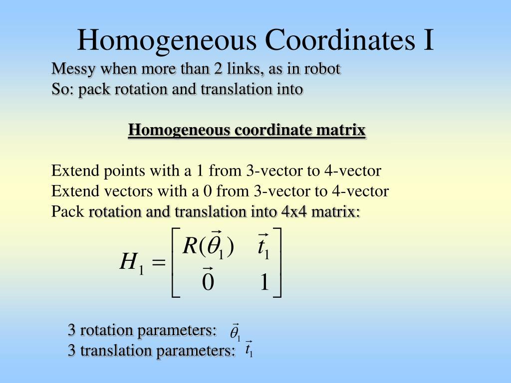 Homogeneous Coordinates I