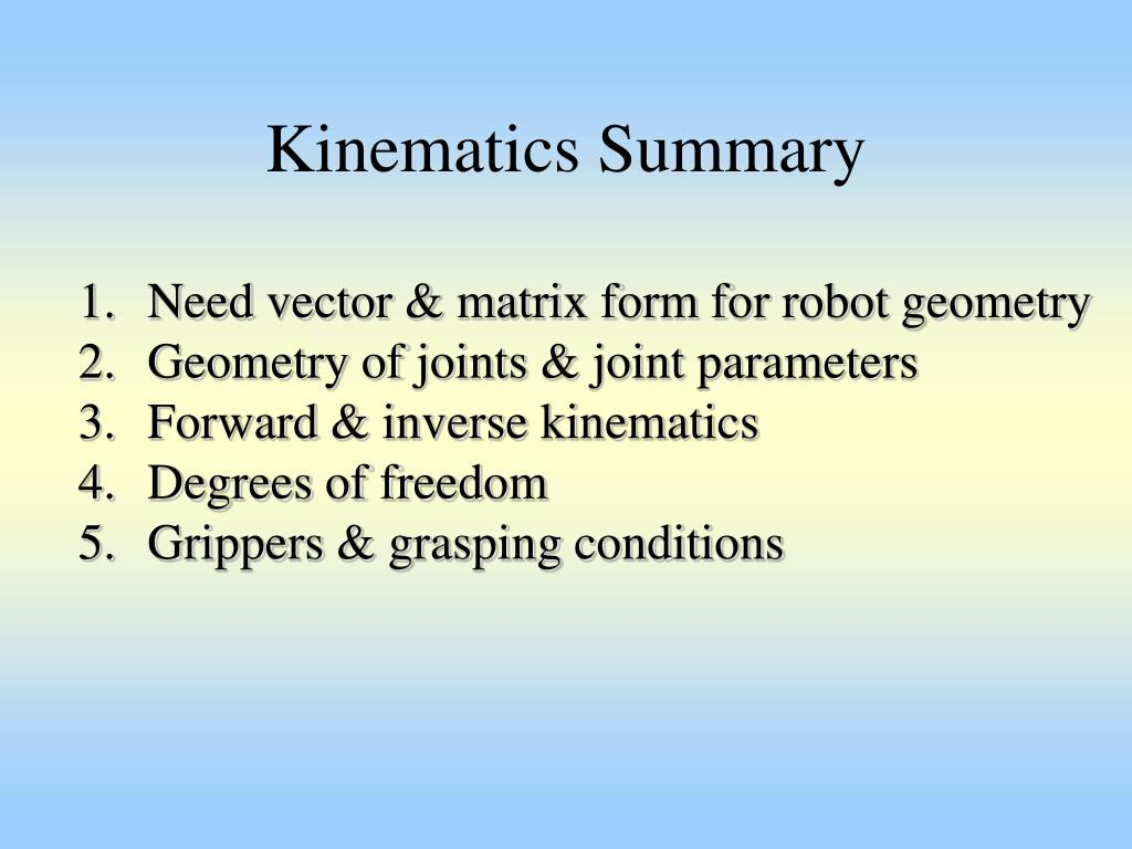 Kinematics Summary