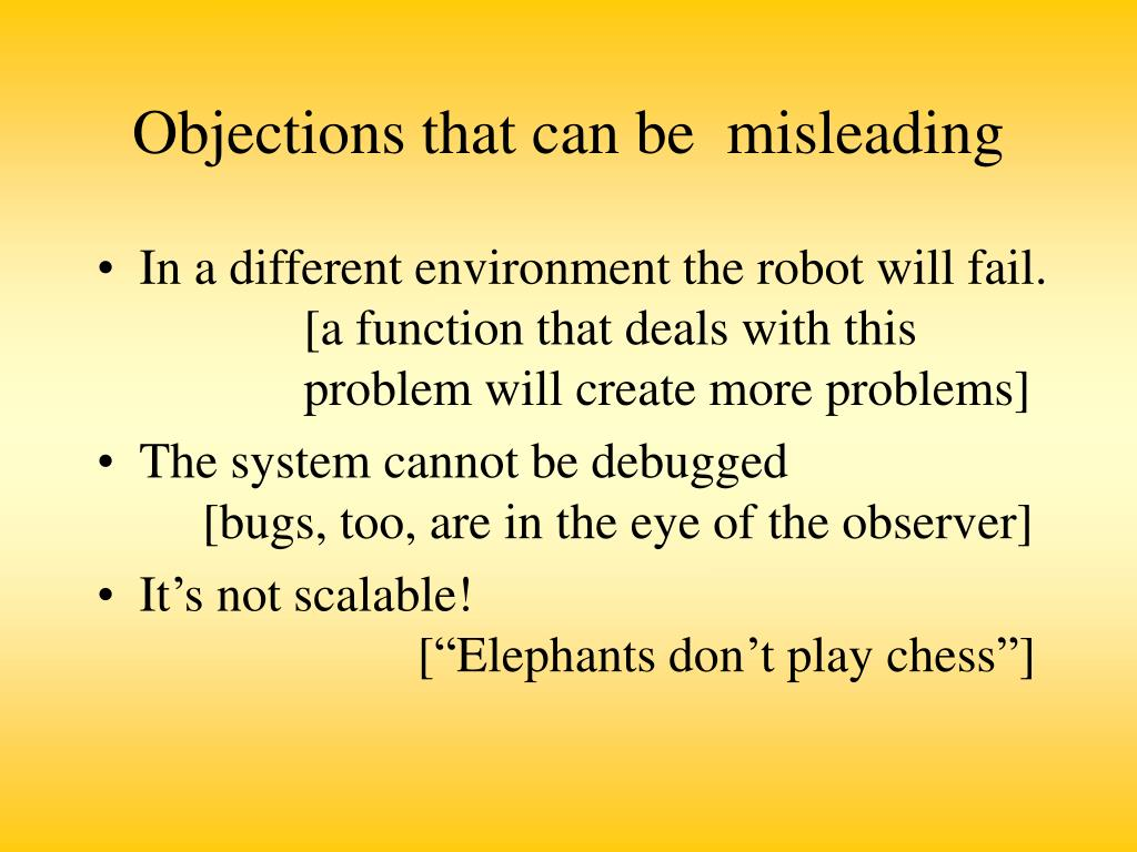 Objections that can be  misleading