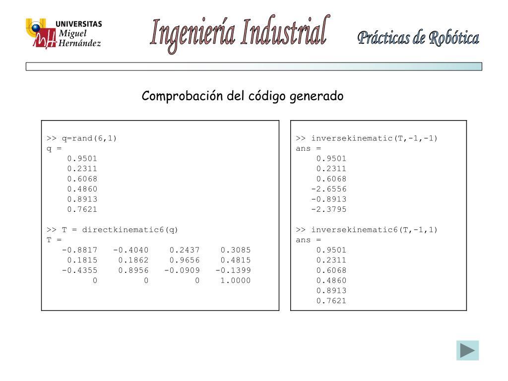 Comprobación del código generado