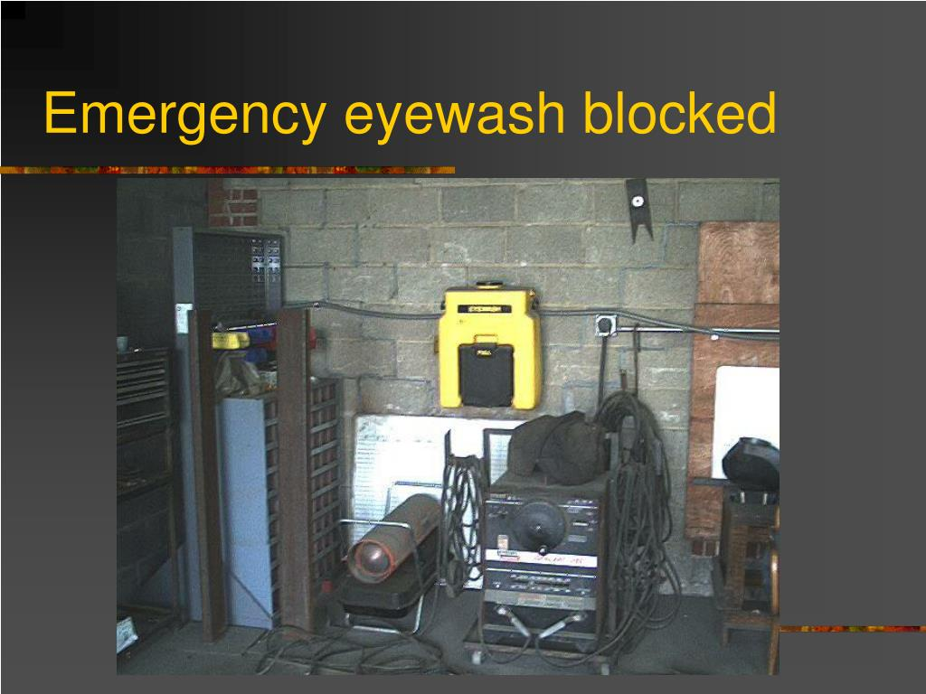 Emergency eyewash blocked