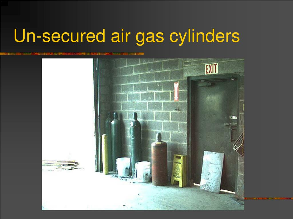 Un-secured air gas cylinders