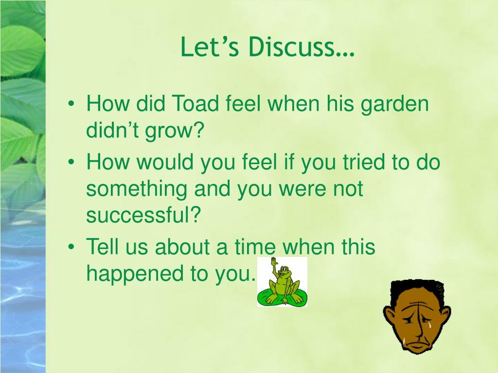Let's Discuss…