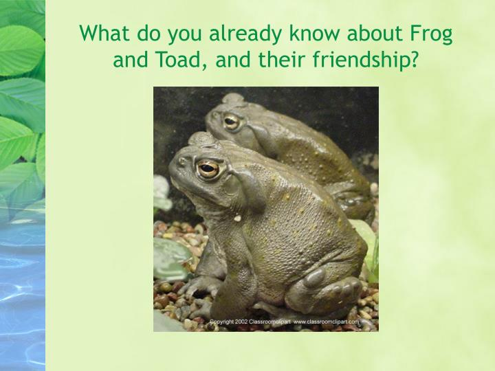 What do you already know about frog and toad and their friendship