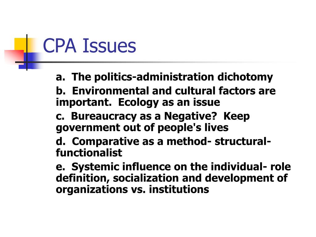 CPA Issues