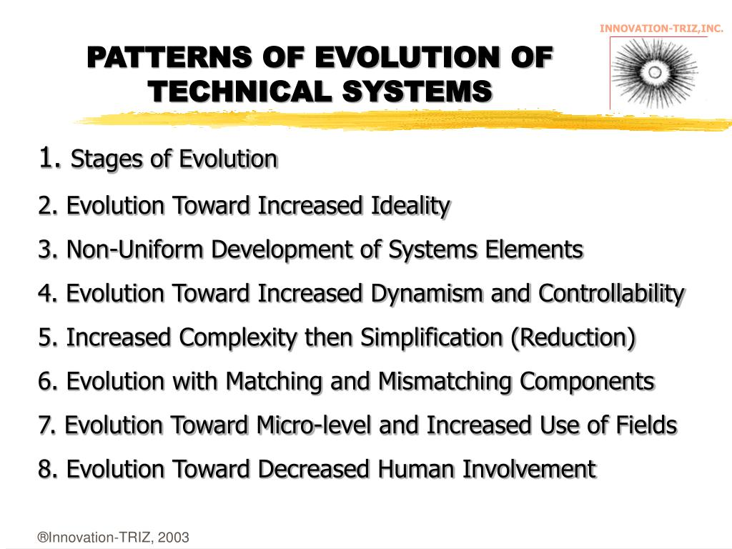 PATTERNS OF EVOLUTION OF TECHNICAL SYSTEMS