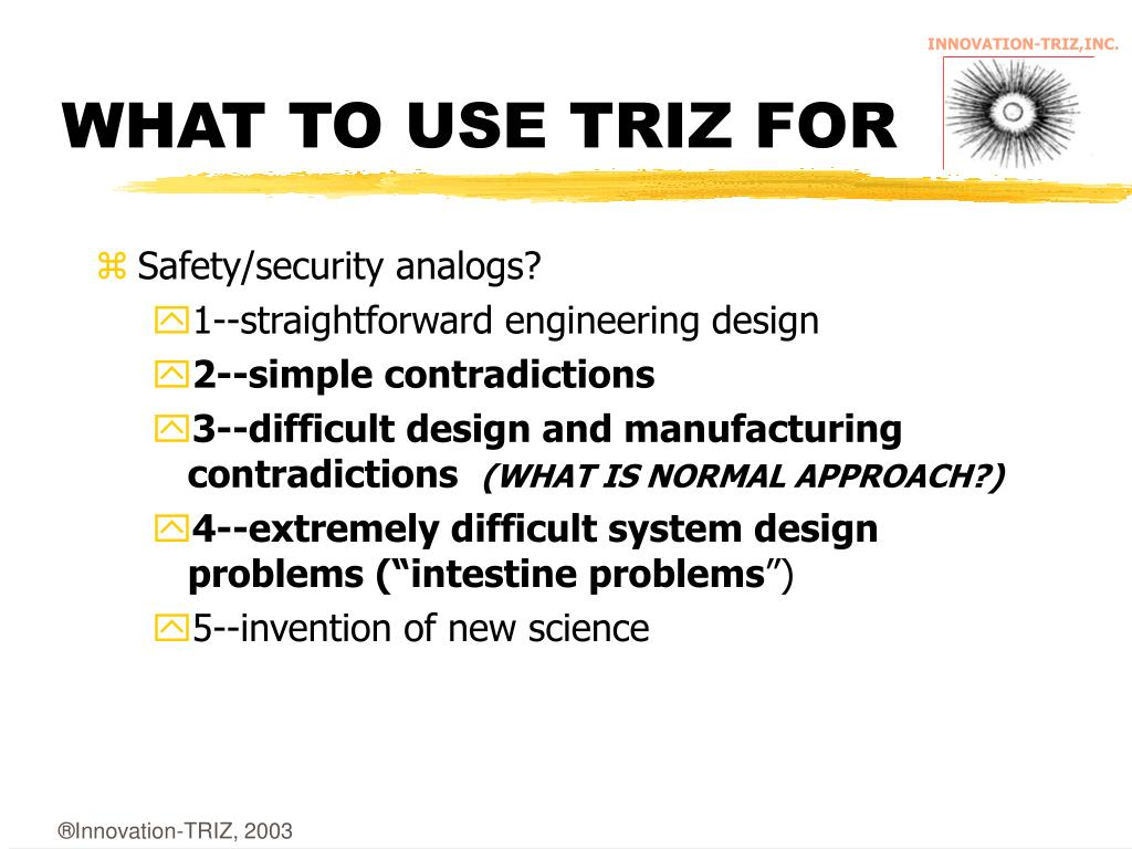 WHAT TO USE TRIZ FOR