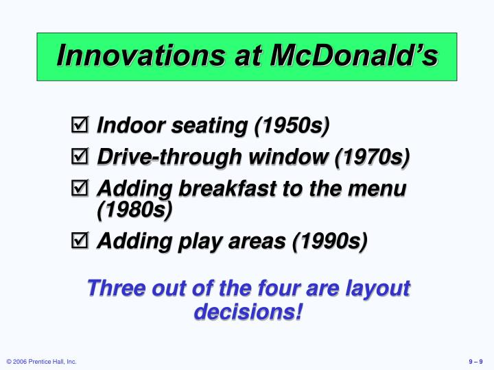 Innovations at McDonald's