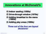 innovations at mcdonald s