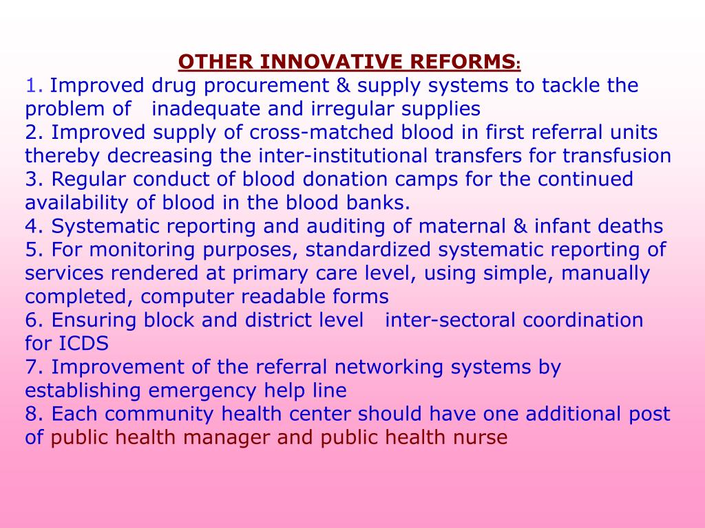 OTHER INNOVATIVE REFORMS