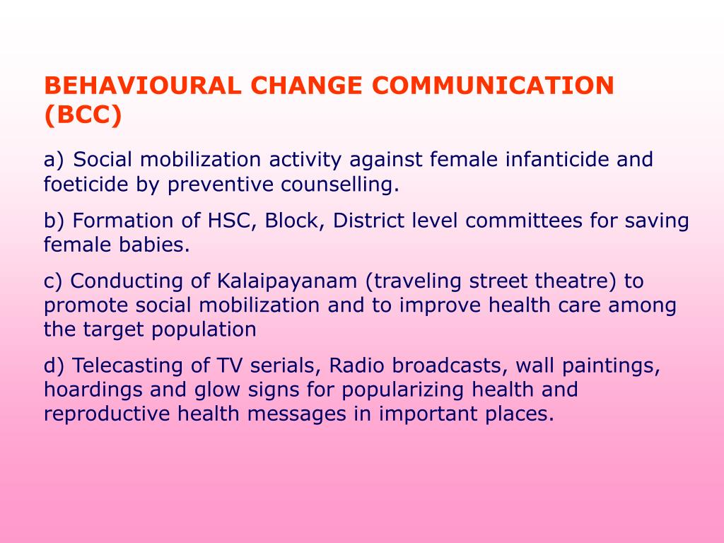 BEHAVIOURAL CHANGE COMMUNICATION (BCC)
