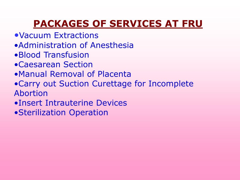 PACKAGES OF SERVICES AT FRU