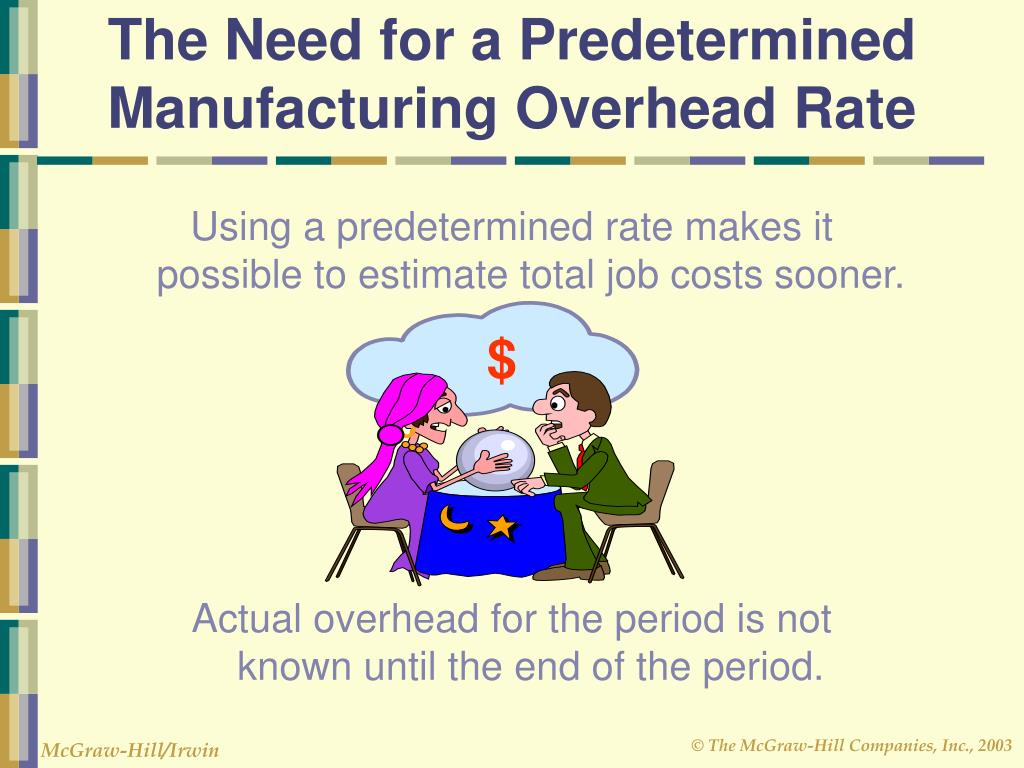 the disadvantage of using predetermined manufacturing overhead rate Nevertheless, basing the predetermined overhead rate on estimated or budgeted, activity is a long-established practice in industry, and some managers and accountants may object to the large amounts of under-applied overhead that would often result from using capacity to determine predetermined overhead rates.