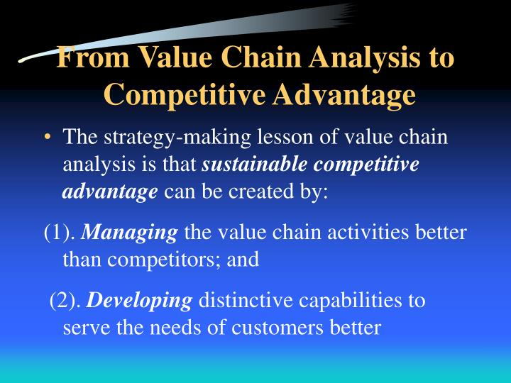 value chain and competitive advantage of Competitive advantage in studying the activities in an organization's sphere, you must think in terms of the effect of each activity on its competitive advantage.