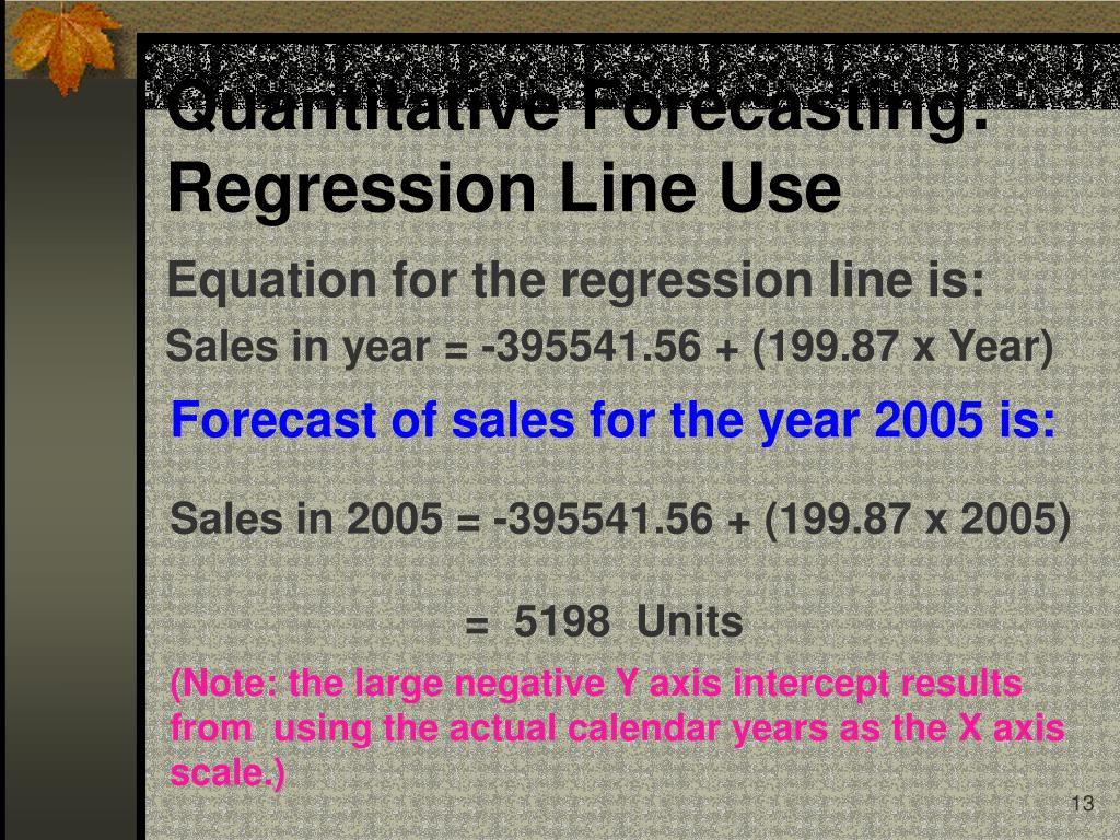 Quantitative Forecasting:  Regression Line Use