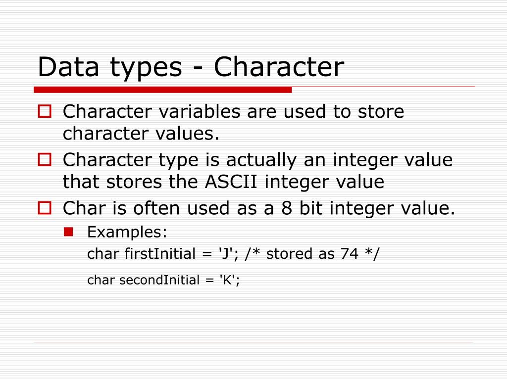 Data types - Character