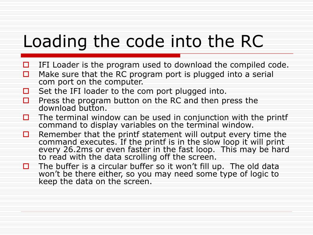 Loading the code into the RC