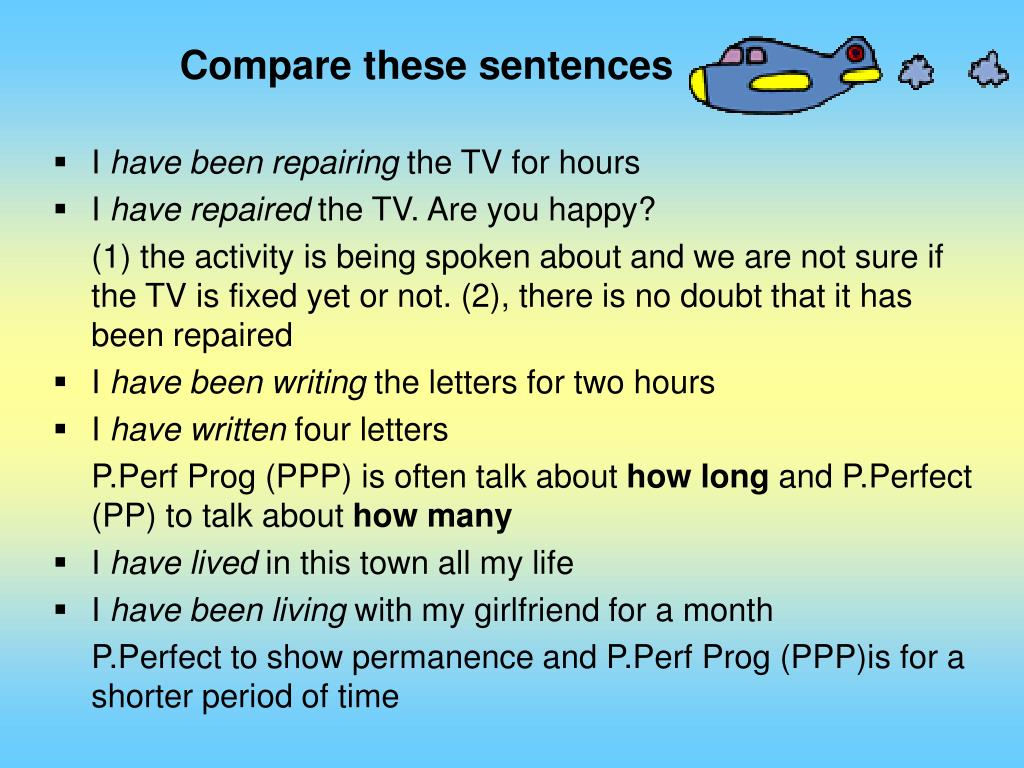 Compare these sentences
