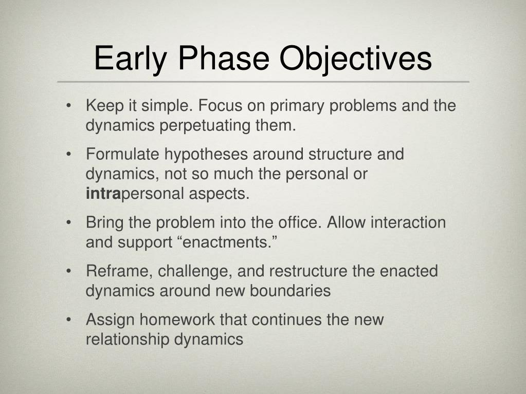 Early Phase Objectives