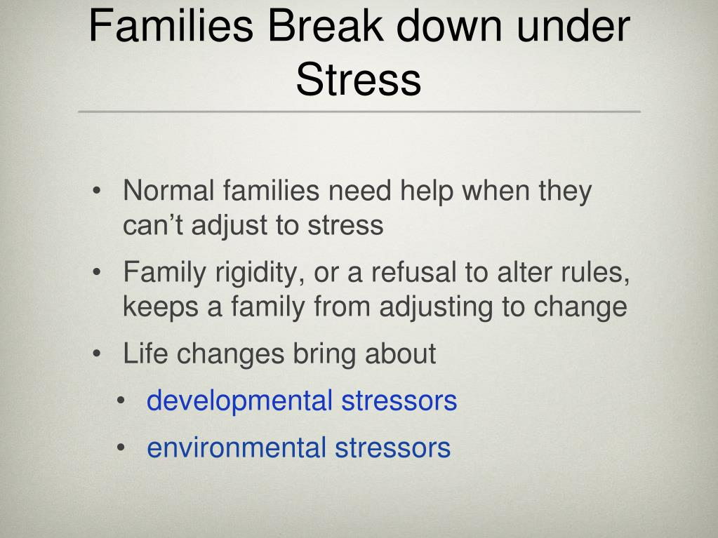 Families Break down under Stress