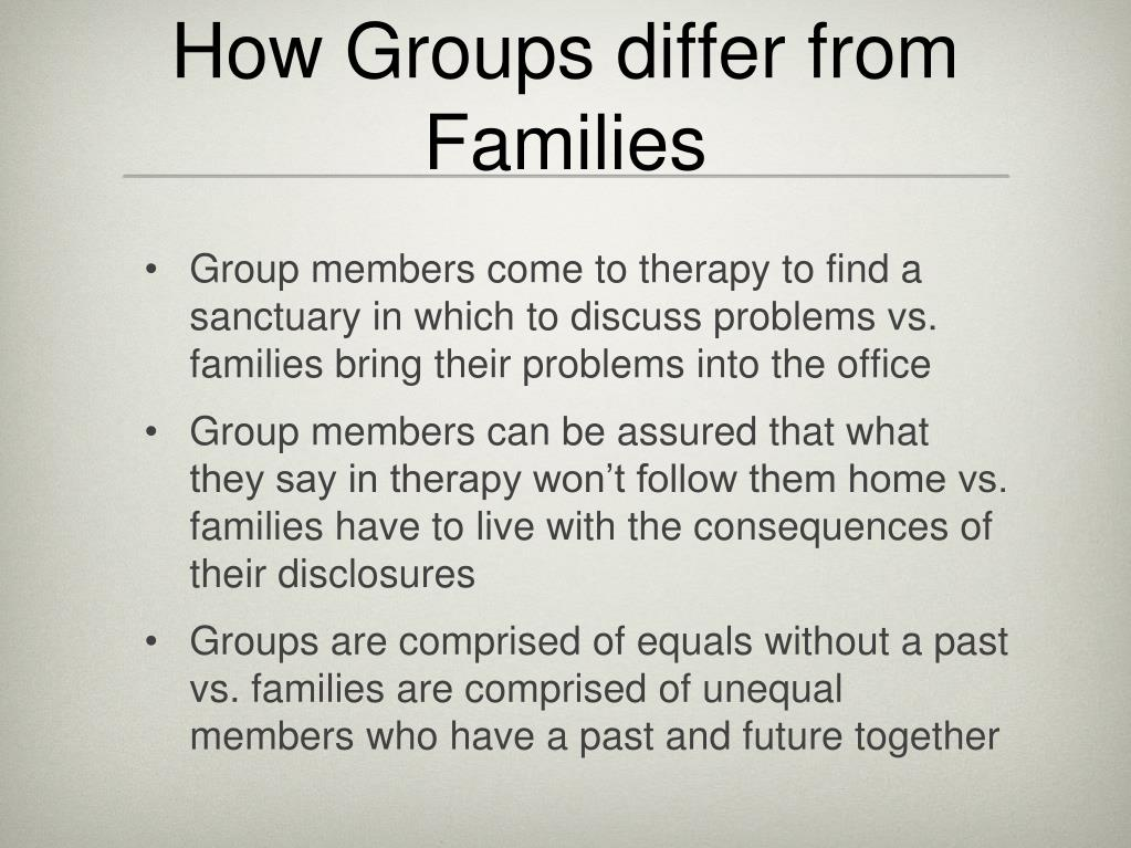 How Groups differ from Families