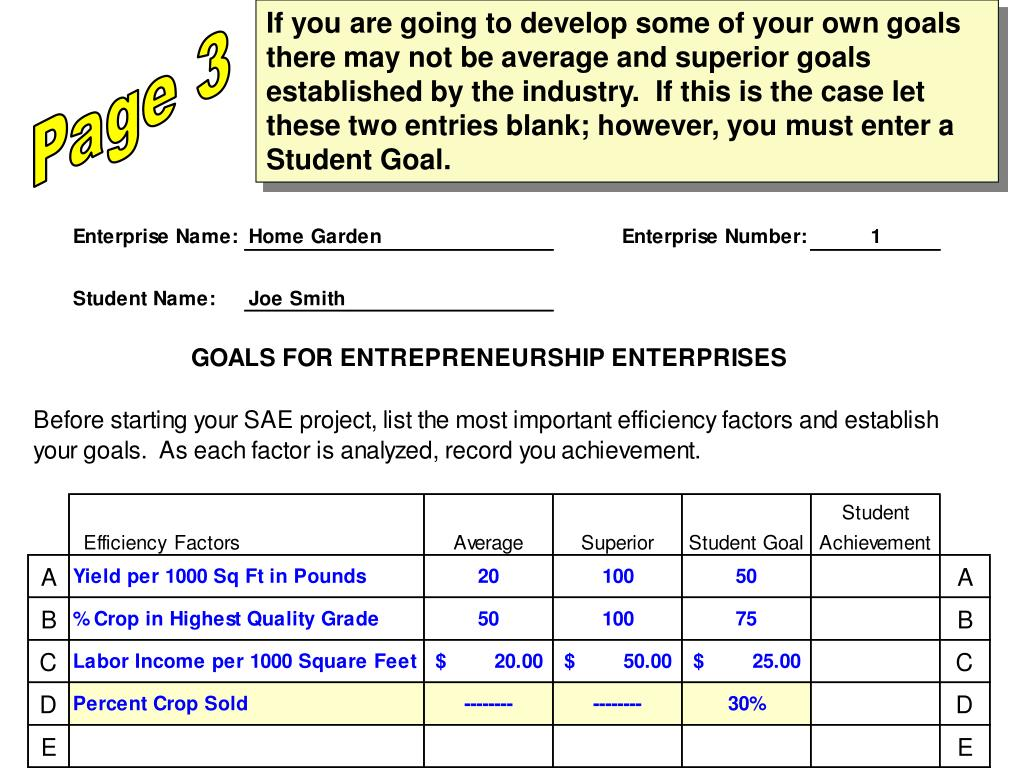 If you are going to develop some of your own goals there may not be average and superior goals established by the industry.  If this is the case let these two entries blank; however, you must enter a Student Goal.