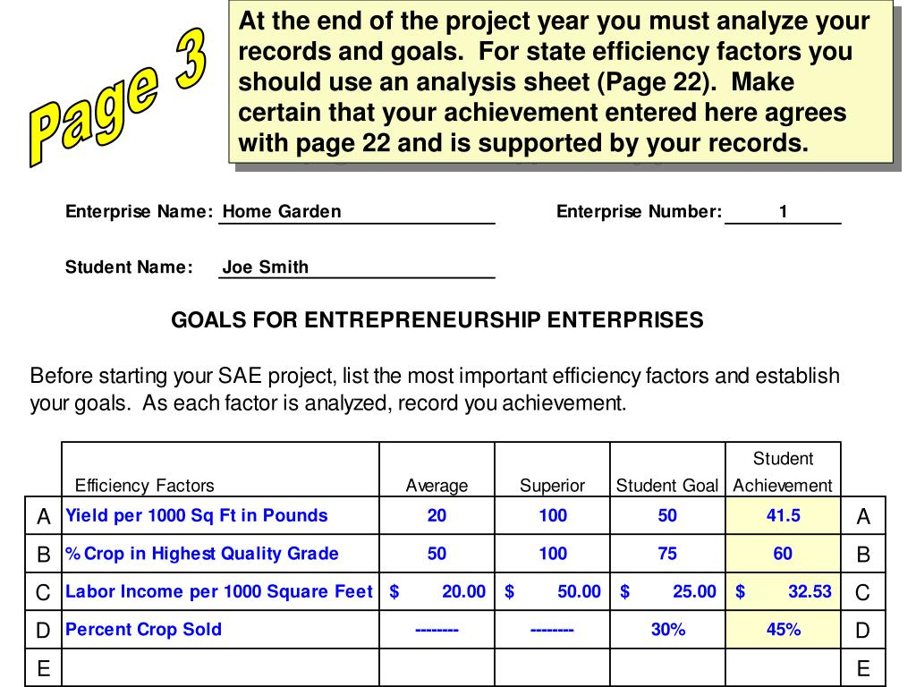 At the end of the project year you must analyze your records and goals.  For state efficiency factors you should use an analysis sheet (Page 22).  Make certain that your achievement entered here agrees with page 22 and is supported by your records.