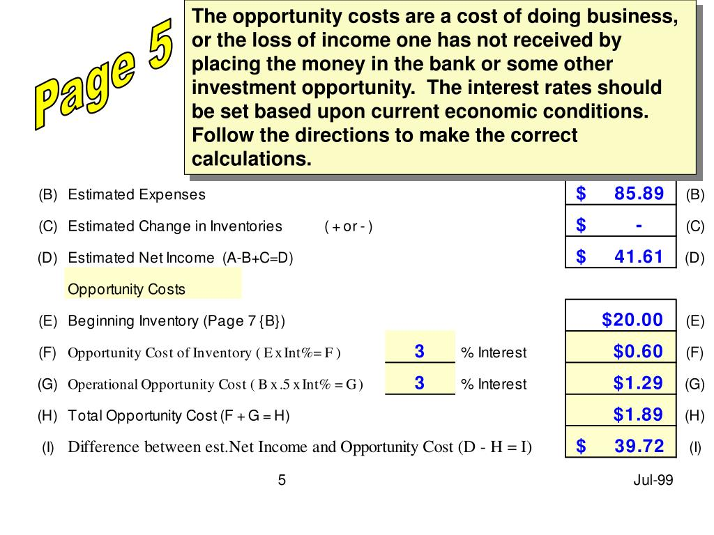 The opportunity costs are a cost of doing business, or the loss of income one has not received by placing the money in the bank or some other investment opportunity.  The interest rates should be set based upon current economic conditions.  Follow the directions to make the correct calculations.