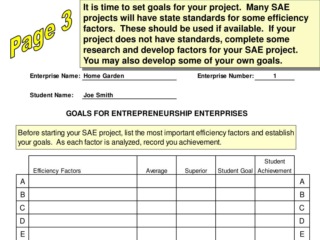 It is time to set goals for your project.  Many SAE projects will have state standards for some efficiency factors.  These should be used if available.  If your project does not have standards, complete some research and develop factors for your SAE project.  You may also develop some of your own goals.