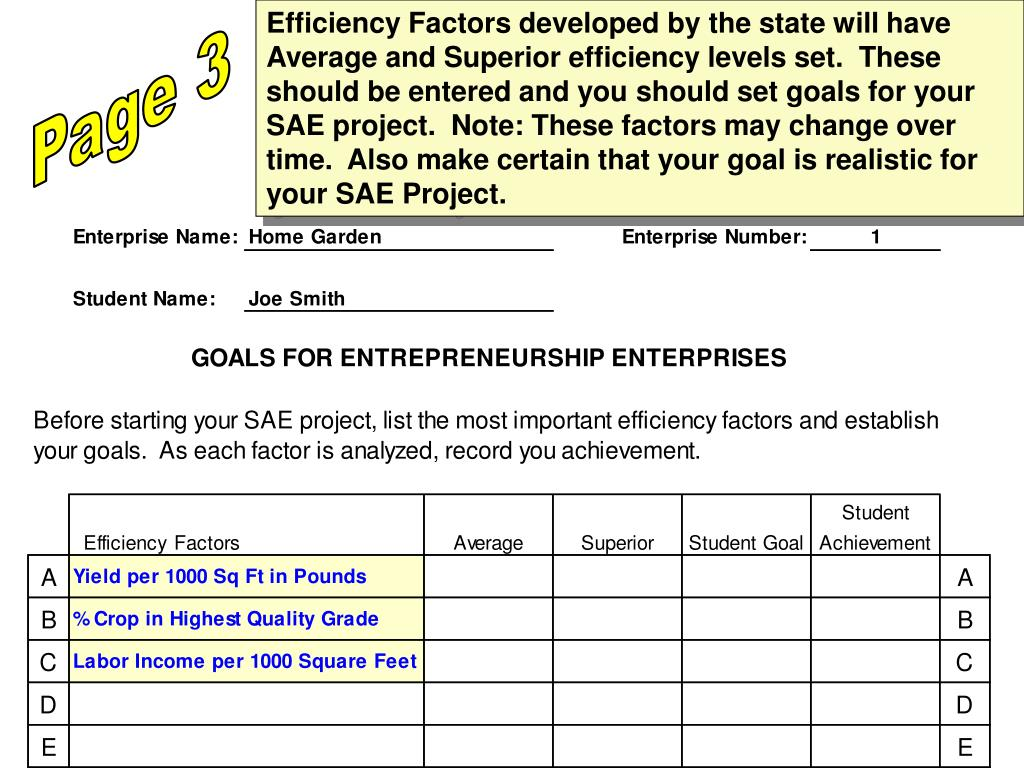 Efficiency Factors developed by the state will have Average and Superior efficiency levels set.  These should be entered and you should set goals for your SAE project.  Note: These factors may change over time.  Also make certain that your goal is realistic for your SAE Project.