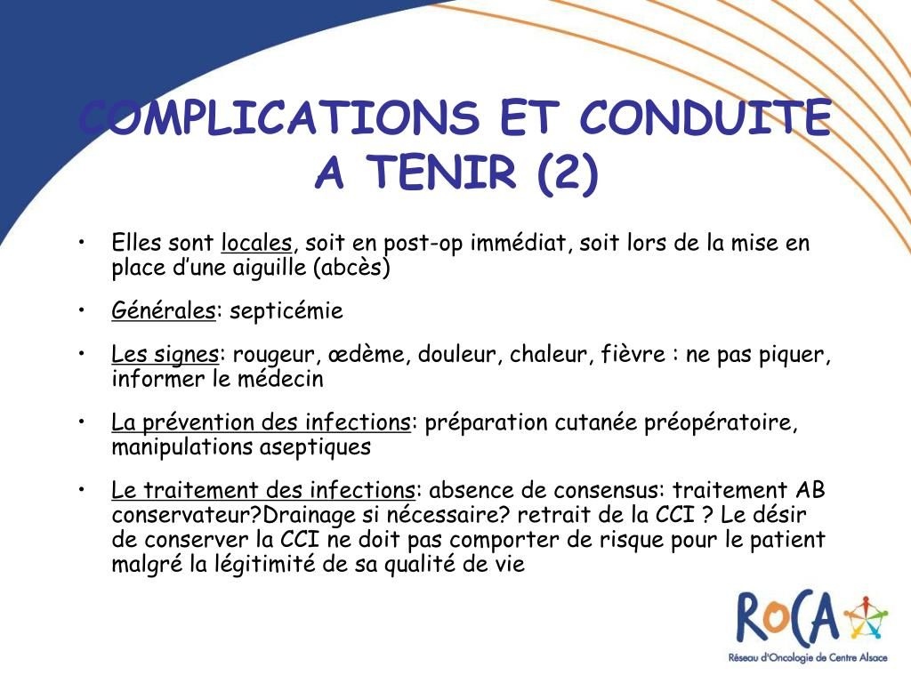 Ppt les chambres a catheter implantables cci powerpoint presentation id 219285 - Infection chambre implantable ...