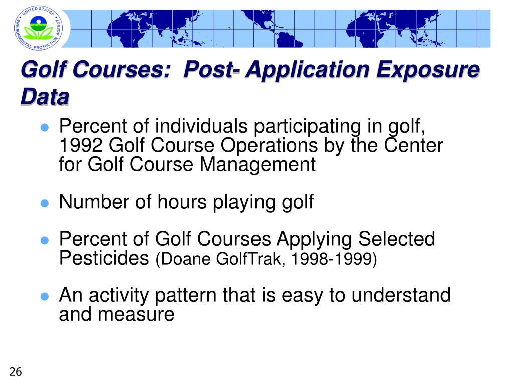 Golf Courses:  Post- Application Exposure Data