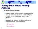 survey data macro activity patterns