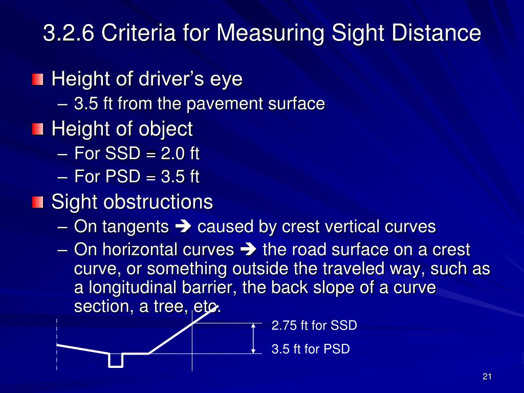 3.2.6 Criteria for Measuring Sight Distance
