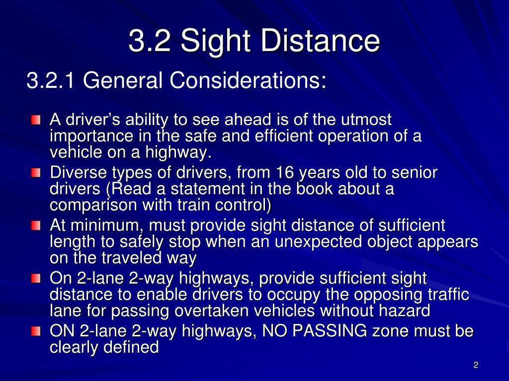 3.2 Sight Distance