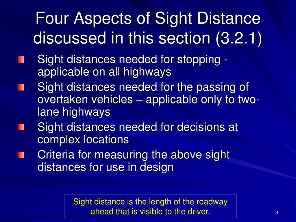 Four Aspects of Sight Distance discussed in this section (3.2.1)